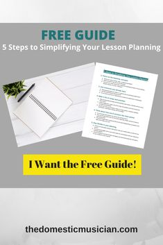 "Maybe you've thought... ""Am I doing this whole lesson planning thing right?"" Or you're wondering if there's an easier way to go about it. If so, I've created a FREE guide called ""5 Steps to Simplifying Your Lesson Planning"" to help you lesson plan with ease."