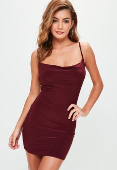 7abed47510 Missguided - Petite Purple Slinky Cowl Neck Dress Petite Outfits