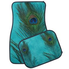 Aqua Blue Peacock Feather Still Life Floor Mat