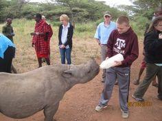 Feeding an orphaned rhino in the #Lewa Wildlife Conservancy (Kenya)