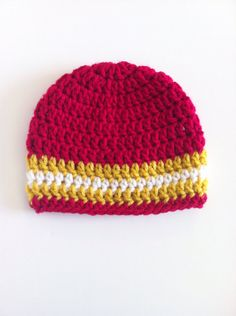 SF 49ers Beanie Football Baby Hat Red and Gold by ChucksForChancho, $14.00