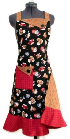 Retro+Coffee+Cup/+Latte+Apron++Adult+Size+by+KelleenKreations,+$35.00
