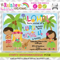 058: DIY - Luau 2 Party Invitation Or Thank You Card. $14.95, via Etsy.