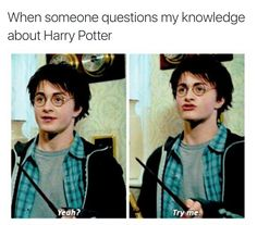 """This is me! My friend, Cindy, said that she knew more about Harry Potter than I did, and I literally said """"Oh, yeah? Try me!"""" and, of course, I won! She got stuck on the question can Death Eaters, besides Snape, produce a patronus?"""