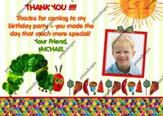 Hungry Caterpillar Birthday Party Photo Thank you Card - DIGITAL FILE | Priyasdesigns - Digital Art  on ArtFire