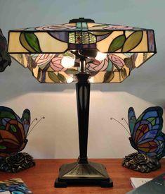 Lampada da Tavolo Tiffany con Fiori 344