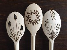 Wood Burned Kitchen Cooking Spoon With Plants: Set of 3