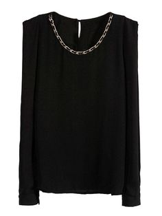 Black Shirt With Chain Neck