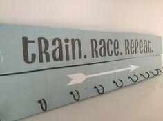 Running medal display Race medal holder Pallet wood by ArtfulNests
