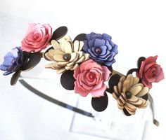 Flower headband leather yellow purple pink by Leatherblossoms, $68.00