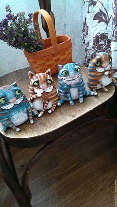 Купить Мартовские котики)(4шт.) - комбинированный, серый кот, рыжий кот, полосатый кот