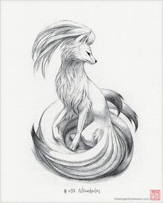 Ninetales 8 x 10 print pokemon drawing art by DrawingsofHeroes, $18.00