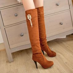 "THIN HIGH HEEL SHOES SLIP ON METAL DOCORATION OVER THE KNEE BOOTS  ""MOD SERIES""   http://hisandherfashion.com/collections/women-shoes/products/thin-high-heel-shoes-slip-on-metal-docoration-over-the-knee-boots-mod-series"