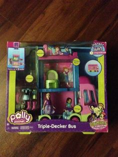 Polly Pocket Polly-Tastic 3 Decker Bus by Polly Pocket. $69.99. Top floor penthouse background choices are pictures of France or England & dashboard flips down to reveal a table with food not in original packaging includes bed, blender, vanity, chair, coffee table - DOES NOT INCLUDE DOLL, CLOTHES OR SHOES because of the Mattel recall on exposed magnets & their choking danger we are not selling any dolls or accessories with this item Manufacturer recommended age: 3 years and up