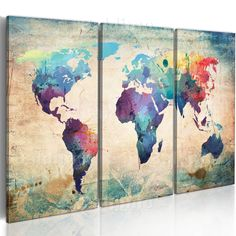 Baisuwallart 3 Pieces Abstract World Map Canvas Painting Vintage Posters and Prints Colorful Wall Art Wall Pictures for Living Room Bedroom Home Decor Office Artwork Canvas Art Prints, Canvas Wall Art, 3 Piece Canvas Art, 3 Piece Art, 3 Piece Painting, Framed Canvas, Canvas Paintings, Diy Canvas, Tissue Paper Art
