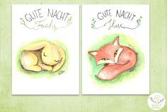 Poster, Digitaldruck - Gute Nacht Hase und Fuchs von paululaDesign auf Etsy