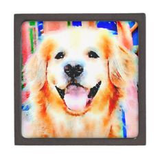 Smiling Golden Retriever Watercolor Portrait Premium Trinket Box by #AugieDoggyStore