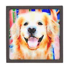 Smiling Golden Retriever Watercolor Portrait Premium Trinket Box by #AugieDoggyStore