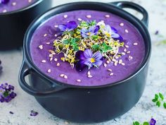 Purple sweet potato soup with cashew cream
