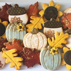 Blue, Gold, Yellow & Cream Leaves, Acorns, Sunflowers and Pumpkin Cookies Fall Decorated Cookies, Fall Cookies, Iced Cookies, Cut Out Cookies, Pumpkin Cookies, No Bake Cookies, Holiday Cookies, Cupcake Cookies, Sugar Cookies