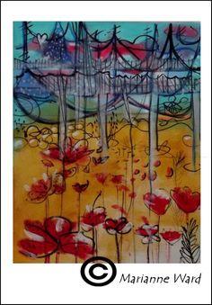 Art print - Bridge over poppies archvial print by maine artist marianne ward - folkart - flowers. $15.00, via Etsy.
