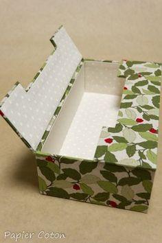 ティッシュが箱ごと入ります♪ 蓋が左右に開くティッシュボックス - カルトナージュ パピエコトン