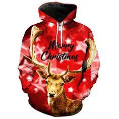 ksDES Kühle rote Hoodie-WeihnachtsSweatshirt Netter Rotwild-Druck-Mode-mit  Kapuze Pullover 050bf30173