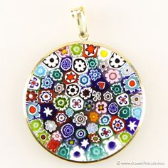 Millefiori pendant authentic venetian glass pendant murrina large millefiori pendant multicolor in gold plated frame 32mm mozeypictures Choice Image