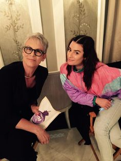 Lea Michele and Jamie Lee Curtis on the Scream Queens set