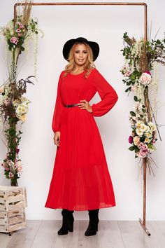 Rochie Rosie cu Croi Larg din Voal si Curea Dresses With Sleeves, Long Sleeve, Shopping, Vintage, Fashion, Moda, Sleeve Dresses, Long Dress Patterns, Fashion Styles