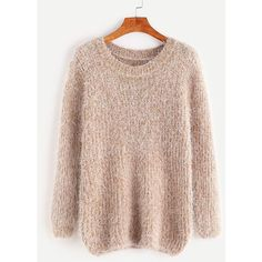 SheIn(sheinside) Fuzzy Chunky Knit Sweater (42 PLN) ❤ liked on Polyvore featuring tops, sweaters, khaki, chunky-knit sweaters, long sleeve tops, fuzzy sweater, pullover sweater and pink long sleeve top