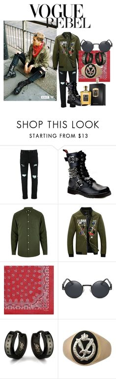"""Co-Pilot"" by roseyfox ❤ liked on Polyvore featuring Demonia, River Island, Yves Saint Laurent, Damaris, West Coast Jewelry, Floris, men's fashion, menswear, kpop and military"
