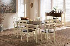 "Baxton Studio Napoleon French Country Cottage Buttermilk and """"Cherry"""" Brown Finishing Wood 5-Piece Dining Set"
