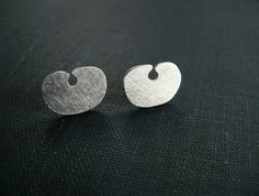 earrings silver studs cut out brushed post Peruvian jewelry ethnic tribal Inca