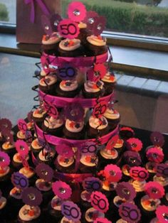 50th Birthday Cupcake Tower