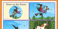 Story Sequencing Cards 4 per to Support Teaching on Room on the Broom - room on the broom, story sequencing, story sequencing cards, 4 per ordering, sequencing Sequencing Pictures, Sequencing Cards, Story Sequencing, Sequencing Activities, Book Activities, Broom Pictures, Story Sack, Room On The Broom, Embroidery Neck Designs