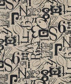 Springs Creative Tossed Type Printed Burlap Fabric