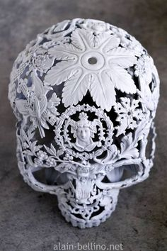 Beautiful work by Alain Bellino #skull #skullart