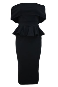 Black Off The Shoulder Bodycon Peplum Dress Chic Dress, Classy Dress, Cheap Cocktail Dresses, Plain Dress, Black Bodycon Dress, Dress Silhouette, Short Sleeve Dresses, Peplum Dresses, Bride Dresses