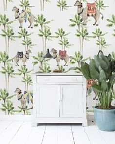 Non-woven wallpaper in custom sizes. Camel Palm Light design with pretty camels, palm trees and colourful details, watercolour print. Lit Wallpaper, Creative Labs, Watercolor Print, Designer Wallpaper, Palm Trees, Lighting Design, Deco, Pretty, Camels
