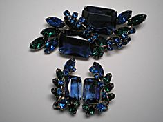 Blue,Green Brooch and Earring Demi Parure
