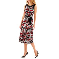 Perceptions Geo Dot Seamed Dress with Tie Belt - JCPenney
