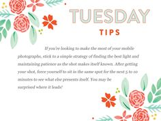 Happy Tuesday tips folks!  This month's theme is mastering your mobile. http://www.everythingbloom.com/tuesday-tips-153-%C2%B7-master-your-mobile