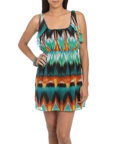 Chiffon Ruffle Print Dress - Casual Dresses
