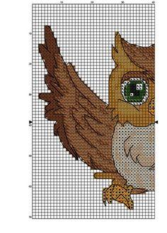 Sowa z Rozpostartymi Skrzydłami Cross Stitch Numbers, Cross Stitch Owl, Butterfly Cross Stitch, Beaded Cross Stitch, Cross Stitch Animals, Cross Stitching, Cross Stitch Embroidery, Embroidery Patterns, Counted Cross Stitch Patterns