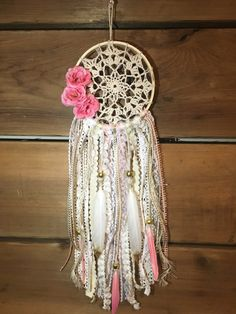 Small vintage pink doily dream catcher car by ZenBohoDreams