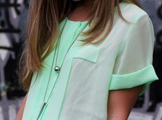 love the mint color & sleeves.