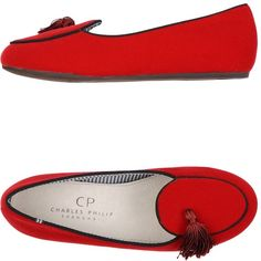 Cp Charles Philip Shanghai Moccasins (£81) ❤ liked on Polyvore featuring shoes, loafers, red, flat shoes, moccasin shoes, mocassin shoes, mocasin shoes and tassel shoes