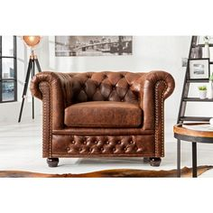 Fauteuil Chesterfield vintage bruin leer - 37200