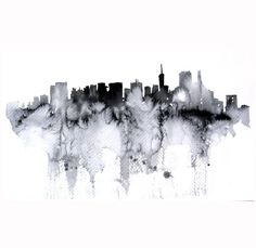 New York abstract ART PRINT 13X19 watercolor painting